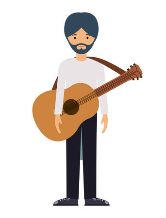 laborer: guitar player man and cartoon icon. profession worker and occupation theme. Isolated design. Vector illustration