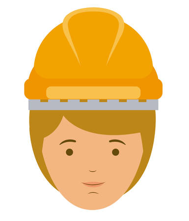 laborer: constructer man and cartoon with helmet icon. profession worker and occupation theme. Isolated design. Vector illustration