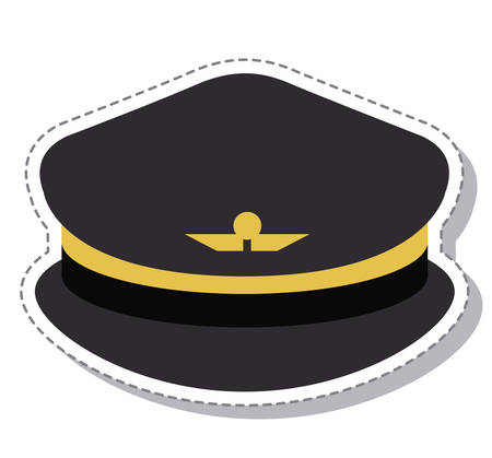 pilot wings: pilot hat with wings symbol icon. profession worker and occupation theme. Isolated design. Vector illustration