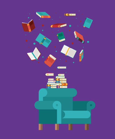 livingroom: livingroom library books chair seat home literature learning knowledge icon. Colorful design. Vector illustration Illustration