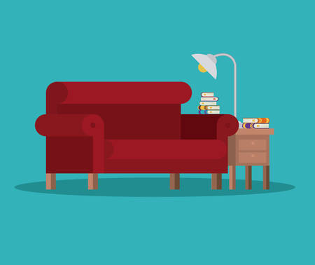 livingroom: livingroom library books chair seat table lamp home literature learning knowledge icon. Colorful design. Vector illustration
