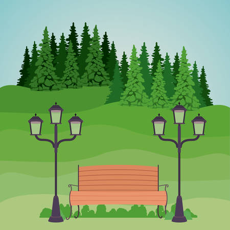 good day: Bench with lamps pine trees and landscape icon. Good day in the park theme. Colorful design. Vector illustration