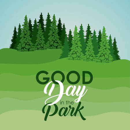 pine trees landscape icon. Good day in the park theme. Colorful design. Vector illustration Illustration