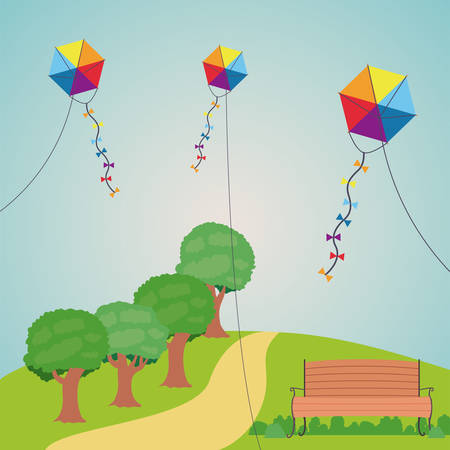 Kite chair and landscape icon. Good day in the park theme. Colorful design. Vector illustration Illustration