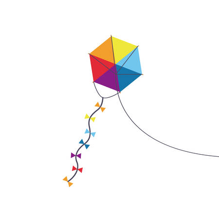 Multicolored kite toy with bowties icon.Park and season theme . Colorful design. Vector illustration Illustration