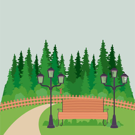 pine trees: Bench with lamps pine trees and landscape icon. Good day in the park theme. Colorful design. Vector illustration