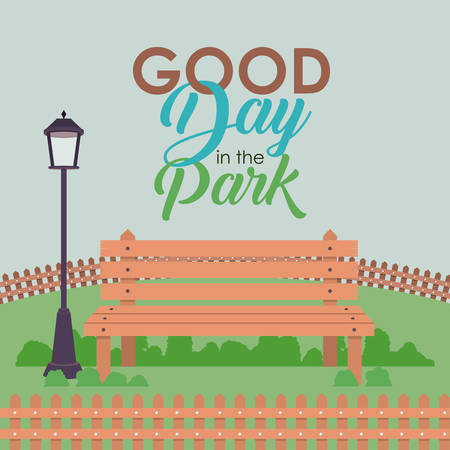 good day: Bench with lamps and landscape icon. Good day in the park theme. Colorful design. Vector illustration