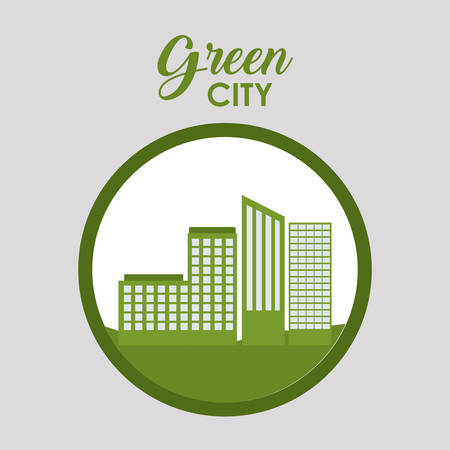 green buildings: Urban buildings icon. Eco and green city theme. Colorful design. Vector illustration