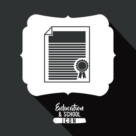 interacting: Diploma inside frame icon. Education school learning and study theme. Black and white design. Vector illustration