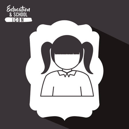 interacting: Girl kid inside frame icon. School education learning and study theme. Vector illustration Illustration