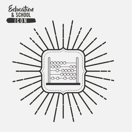 interacting: Abacus inside frame icon. Education school learning and study theme. Black and white design. Vector illustration