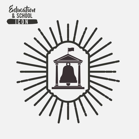 interacting: Bell and building inside frame icon. Education school learning and study theme. Black and white design. Vector illustration Illustration