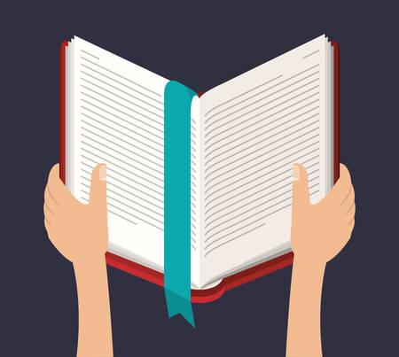 Libro abierto con el icono de las manos. aprendizaje conocimiento educación y el tema de estudio. El diseño colorido. ilustración vectorial