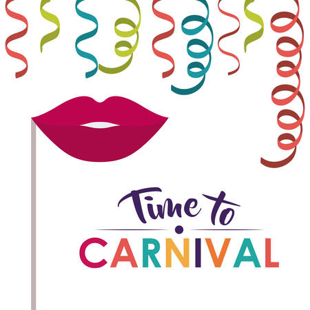 streamer: mouth and streamer  icon. Festival and carnival season theme. Colorful design. Vector illustration Illustration