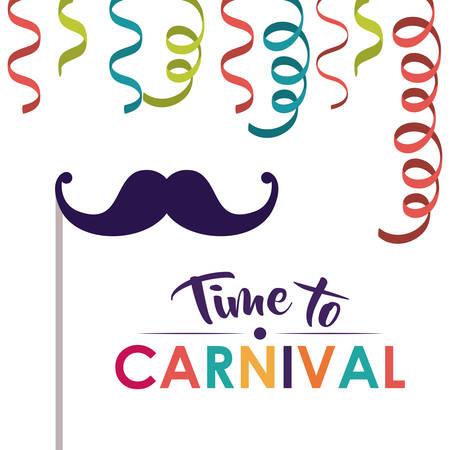 excite: mustache and streamer  icon. Festival and carnival season theme. Colorful design. Vector illustration Illustration