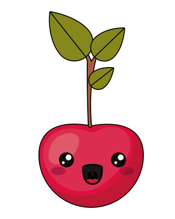 Cherry with kawaii face icon. Cute cartoon and character theme. Isolated design. Vector illustration Illustration