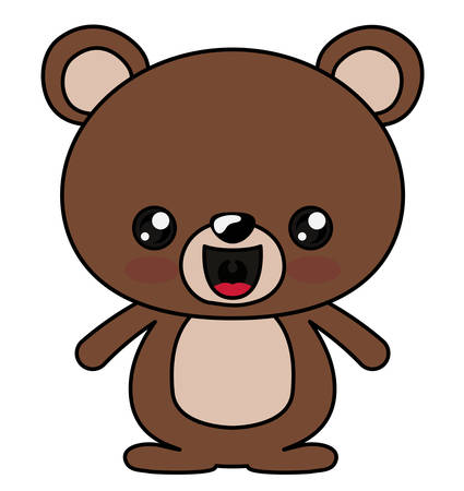 Bear with kawaii face icon. Cute animal cartoon and character theme. Isolated design. Vector illustration Illustration