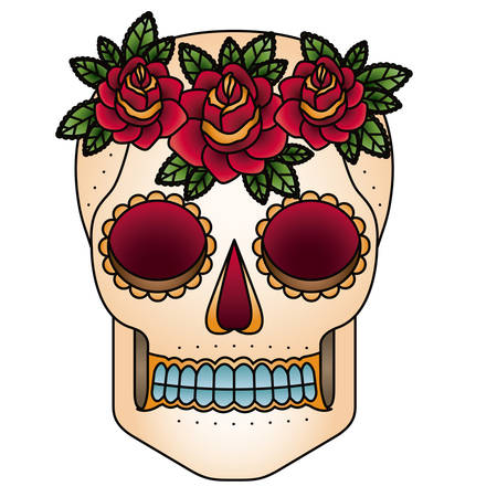 Skull head with flowers design. Death and dark culture theme. Isolated image. Vector illustration