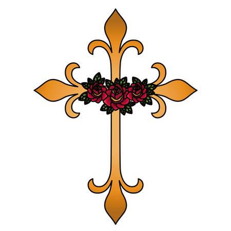 forme Croix avec un design de fleurs. Religion tatouage et le thème de symbole. Isolated image. Vector illustration