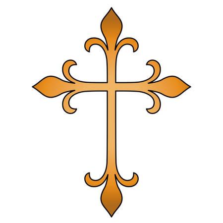 Diseño de forma cruzada. Religión tatuaje y tema del símbolo. Imagen aislada Ilustración vectorial