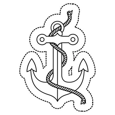 Anchor and rope icon. Sea lifestyle nautical and marine theme. Isolated design. Vector illustration