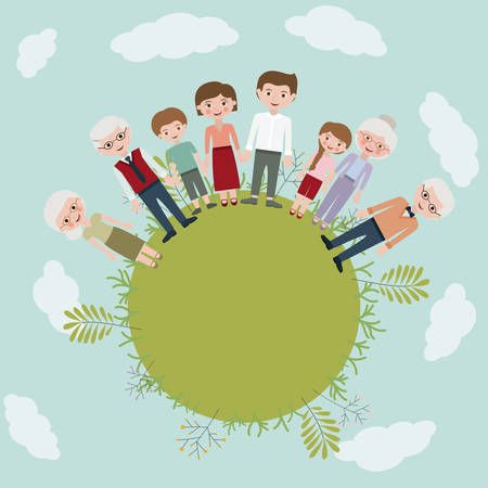 father and son: Mother father son daughter and grandparents icon. Family and relationship theme. Clouds and leaves background. Vector illustration Illustration
