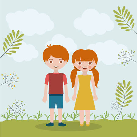 brothers: son daughter and brothers icon. Family and relationship theme. Clouds and leaves background. Vector illustration