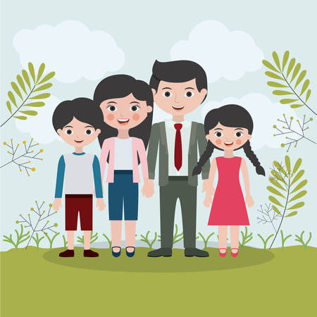 father and son: Mother father son and daughter icon. Family and relationship theme. Clouds and leaves background. Vector illustration
