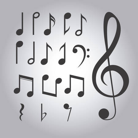 melody: Isolated music note icon. Sound melody pentagram and musical theme. Vector illustration