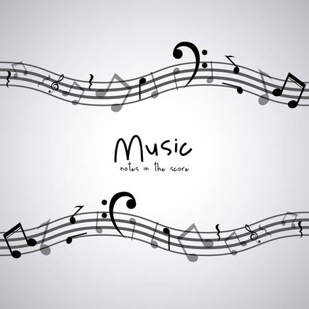 composition art: Isolated music note icon. Sound melody pentagram and musical theme. Vector illustration