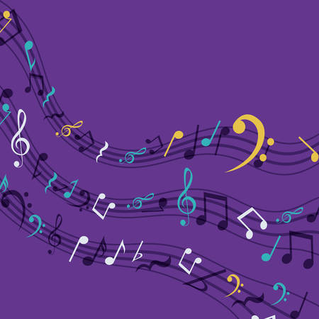 pentagram: Multicolored music note icon. Sound melody pentagram and musical theme. Vector illustration Illustration
