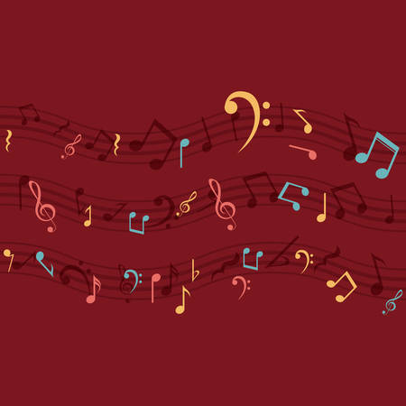 pentagramma musicale: Multicolored music note icon. Sound melody pentagram and musical theme. Vector illustration Vettoriali
