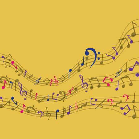 music pentagram: Multicolore icona della musica nota. pentagramma melodia del suono e il tema musicale. illustrazione di vettore