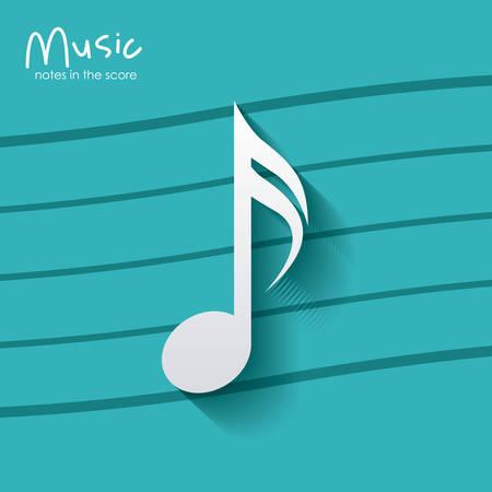 music pentagram: musica nota su sfondo a strisce. pentagramma melodia del suono e il tema musicale. illustrazione di vettore