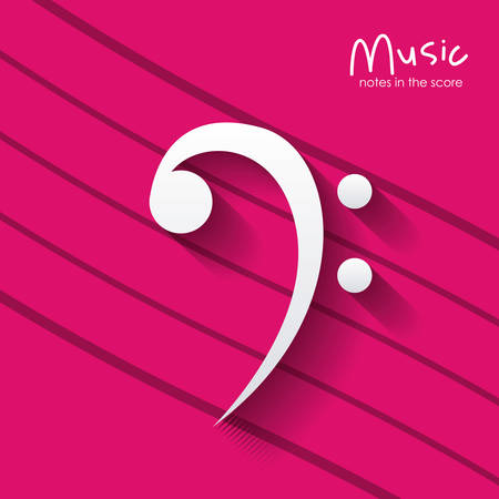 pentagramma musicale: music note over striped background. Sound melody pentagram and musical theme. Vector illustration Vettoriali
