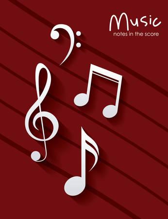 pentagramma musicale: musica nota su sfondo a strisce. pentagramma melodia del suono e il tema musicale. illustrazione di vettore