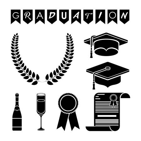 bachelor's: Graduation cap wreath bottle cup diploma and seal stamp icon. University school and education theme. Isolated design. Vector illustration