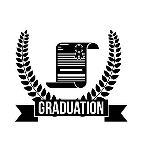 finishing school: Graduation diploma and wreath icon. University school and education theme. Isolated design. Vector illustration