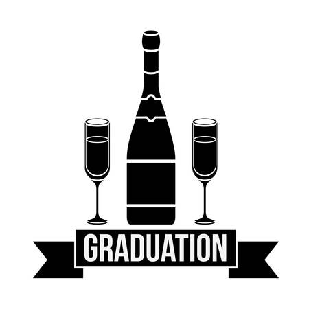 bachelor's: Bottle and cup of graduation calebration. University school and education theme. Isolated design. Vector illustration