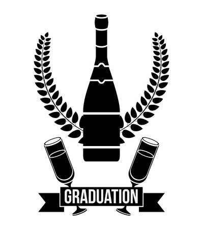 finishing school: Bottle and cup of graduation calebration. University school and education theme. Isolated design. Vector illustration