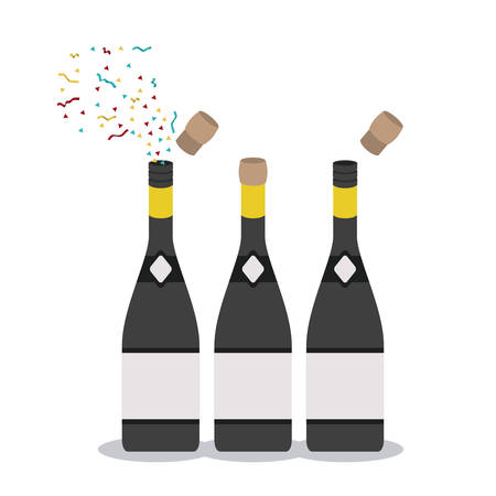 finishing school: Bottle of graduation calebration. University school and education theme. Isolated design. Vector illustration