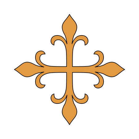 gold cross: Gold cross icon. religion culture and symbol theme. Isolated design. Vector illustration