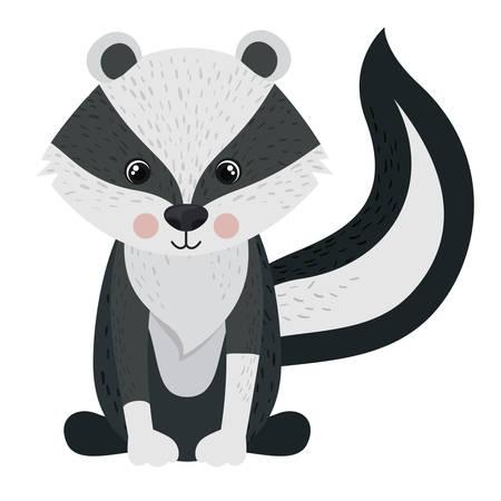 icono de dibujos animados de la mofeta. tema de los animales del bosque. diseño aislado. ilustración vectorial