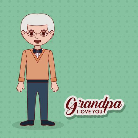Old man cartoon icon. Grandfather grandpa and family theme. Colorful design. Vector illustration Illustration