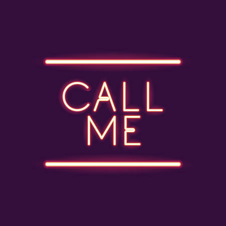 call me: Call me neon font icon. Text typography decoration and advertising theme. Colorful design. Vector illustration