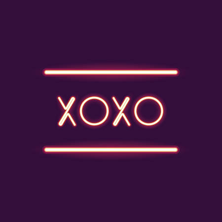 xoxo: xoxo neon font icon. Text typography decoration and advertising theme. Colorful design. Vector illustration Illustration