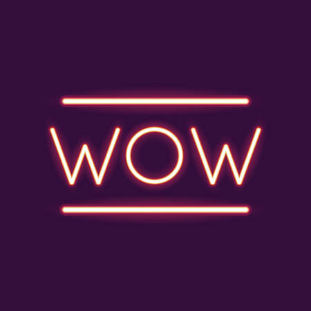 wow neon font icon. Text typography decoration and advertising theme. Colorful design. Vector illustration 向量圖像