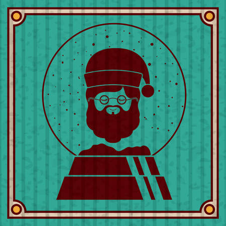 Santa inside sphere icon. Merry Christmas season and decoration theme. Colorful design. Striped frame and grunge background. Vector illustration