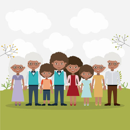 father daughter: Mother father daughter son and grandparents icons. Family generation and relationship theme. Colorful design. Vector illustration Illustration