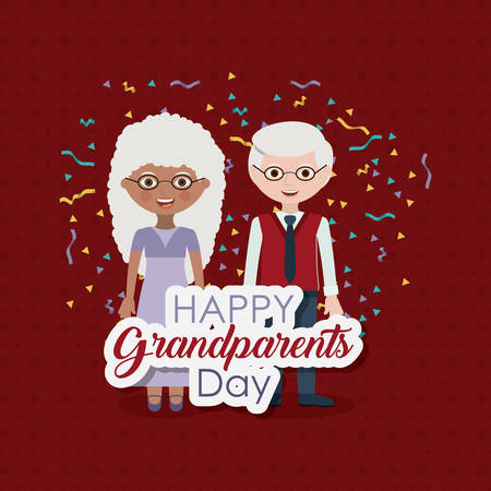 gray hair: Couple of old man and woman icon.  Grandparents generation and family theme. Colorful design. Vector illustration